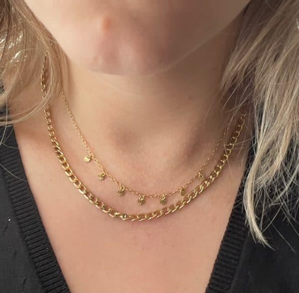 Made by Mila | Ketting schakel goud kleine schakels met bewerkte coins - Go Dutch Label 2