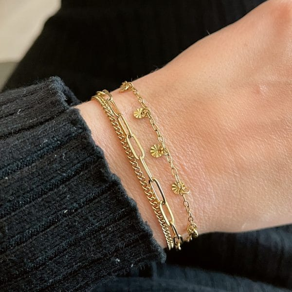 Made by Mila | Armband schakel dubbel goud- Go Dutch label 2