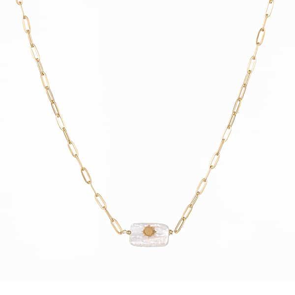 Made by Mila | Ketting schakel goud met grove schakels en parelmoer steen. Go Dutch Label 1