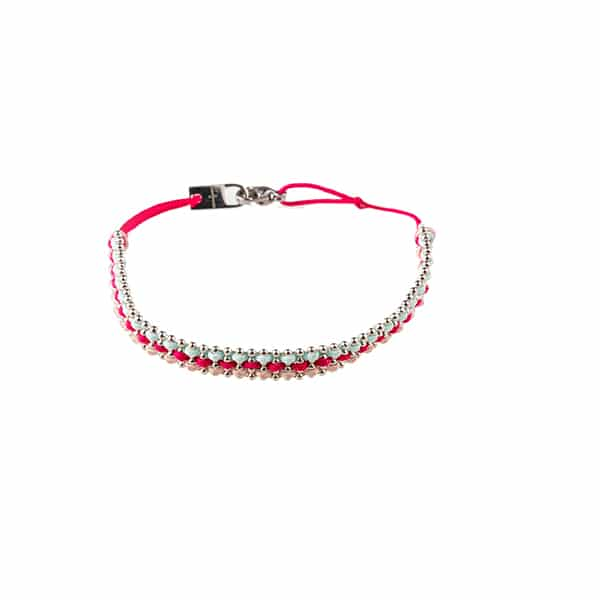 Made by Mila | Armband gevlochten zilver roze blauw- Go Dutch label 1