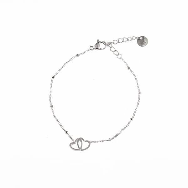 Made by Mila | Armband hearts zilver- Go Dutch label 1