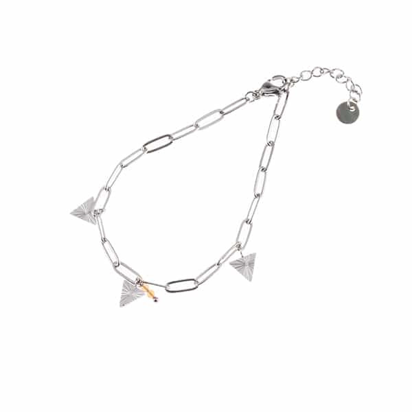 Made by Mila | Armband schakel triangle zilver pink- Go Dutch label 1