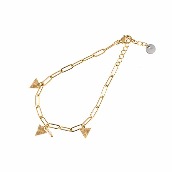 Made by Mila | Armband schakel goud triangle pink - Go Dutch Label 1