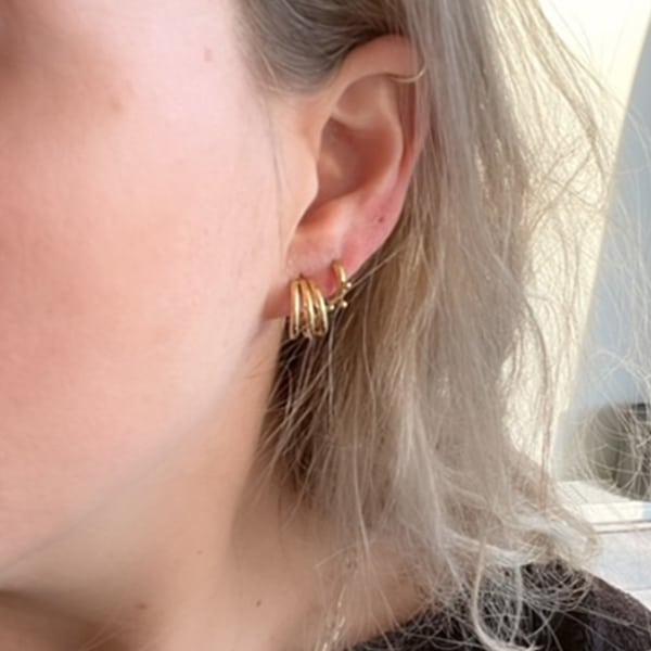 Made by Mila   Oorbellen steker drie ringen hoop goud - Go Dutch Label 2