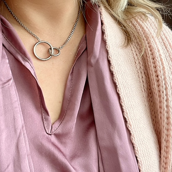 Made by Mila | Ketting infinity circles zilver - Go Dutch Label 2