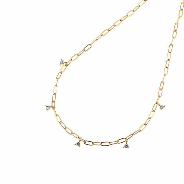 Made by Mila | Ketting schakel goud met ingelegde mooie steentjes- Go Dutch Label 1