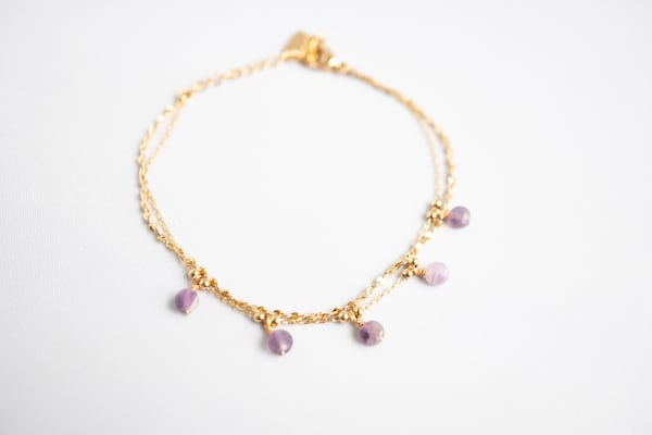 Made by Mila | Dubbele armband goud paars - ZAG Bijoux 1