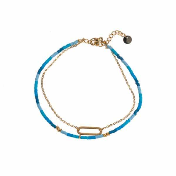 Made by Mila | Enkelbandje dubbel blauw en goud - Go Dutch Label 1