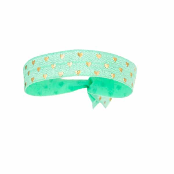 Made by Mila | Armband elastisch groen hartjes goud- Go Dutch label 1