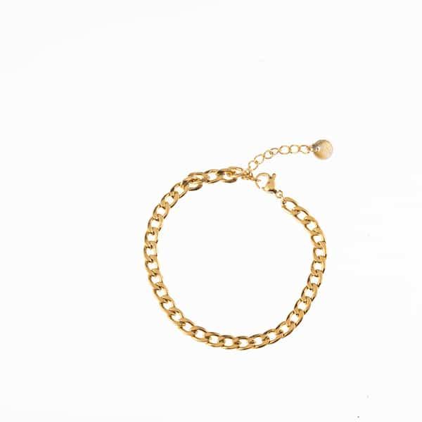 Made by Mila | Armband medium schakel plat goud - Go Dutch Label 1