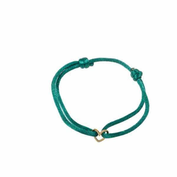 Made by Mila | Armband verstelbaar groen goud hartje- Go Dutch Label 1