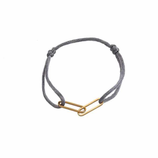 Made by Mila | Armband verstelbaar grijs goud schakel- Go Dutch Label 1