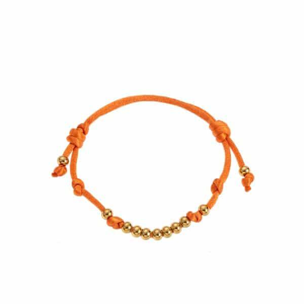 Made by Mila | Armband verstelbaar oranje goud bolletjes- Go Dutch Label 1