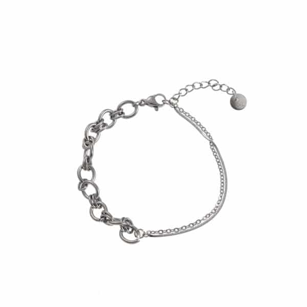 Made by Mila | Armband zilver dubbele ketting- Go Dutch label 1