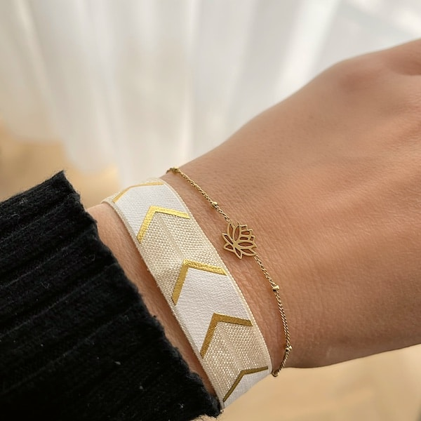 Made by Mila | Armband elastisch streep wit goud- Go Dutch label 2