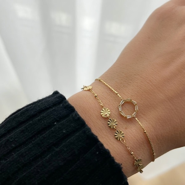 Made by Mila | Armband schakel rondjes goud- Go Dutch label 2