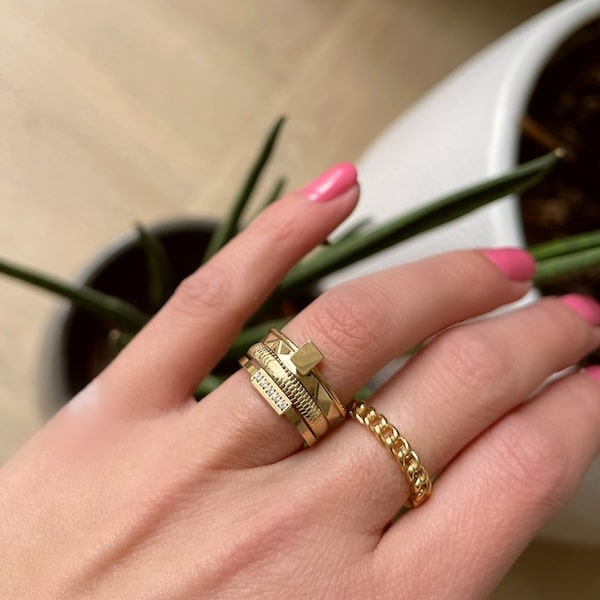 Made by Mila | Ring goud 'Rectangle gold Steel' - Charmin's 2