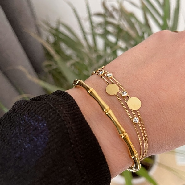 Made by Mila | Armband goud drie kettinkjes divers - ZAG Bijoux 2