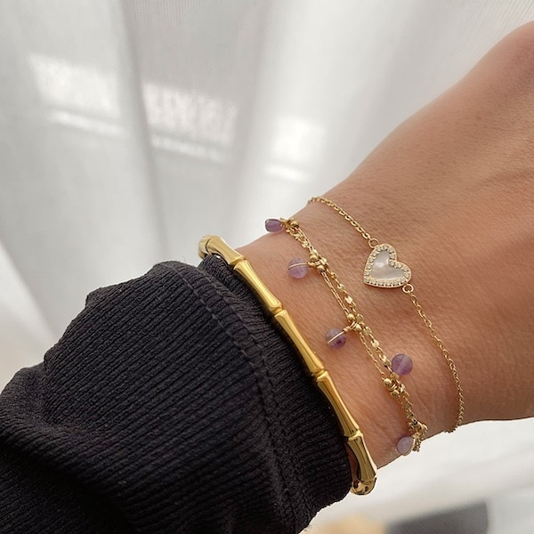 Made by Mila | Dubbele armband goud paars - ZAG Bijoux 2