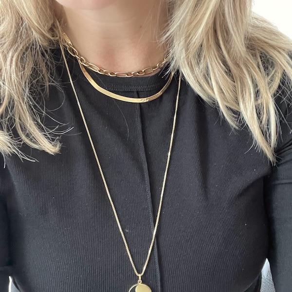 Made by Mila | Flat snake ketting goud - ZAG bijoux 2