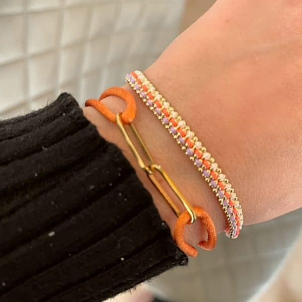 Made by Mila | Armband gevlochten goud oranje- Go Dutch label 2