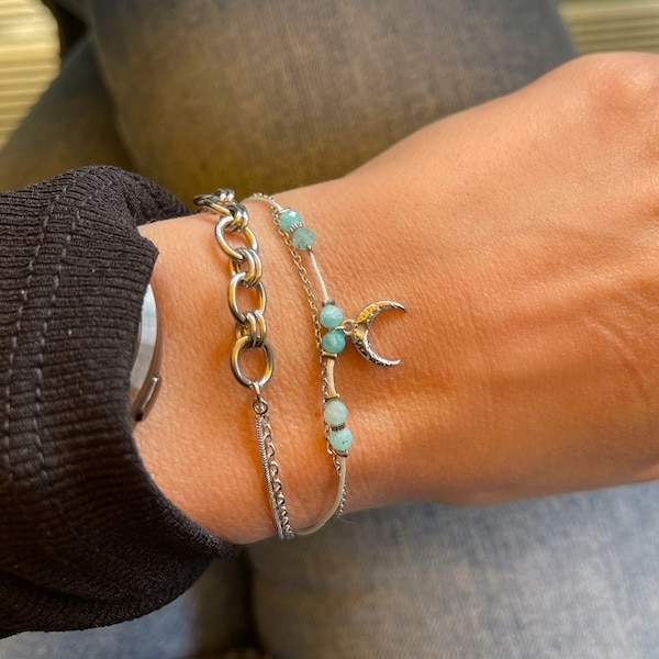Made by Mila | Armband zilver dubbele ketting- Go Dutch label 2