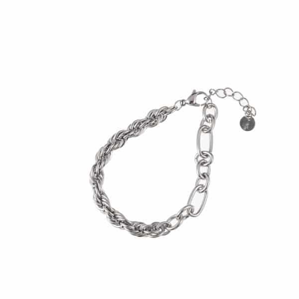 Made by Mila | Armband schakel grof zilver - Go Dutch Label 1