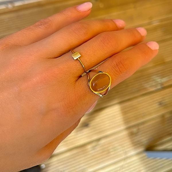 Made by Mila   Verstelbare ring goud met oud roze steen- ZAG Bijoux 2