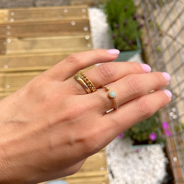 Made by Mila | Ring goud 'Stripes gold Steel' - Charmin's 3