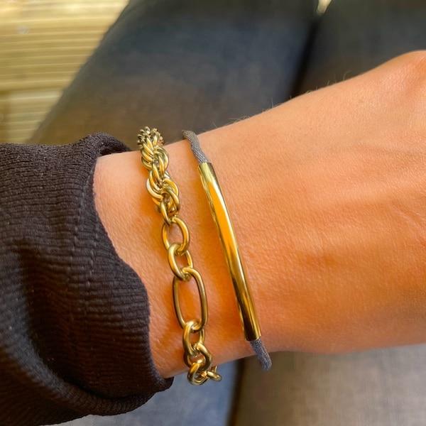 Made by Mila | Armband verstelbaar grijs goud staafje- Go Dutch Label 2