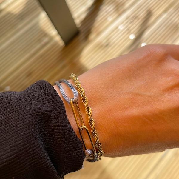 Made by Mila | Armband verstelbaar grijs goud schakel- Go Dutch Label 2