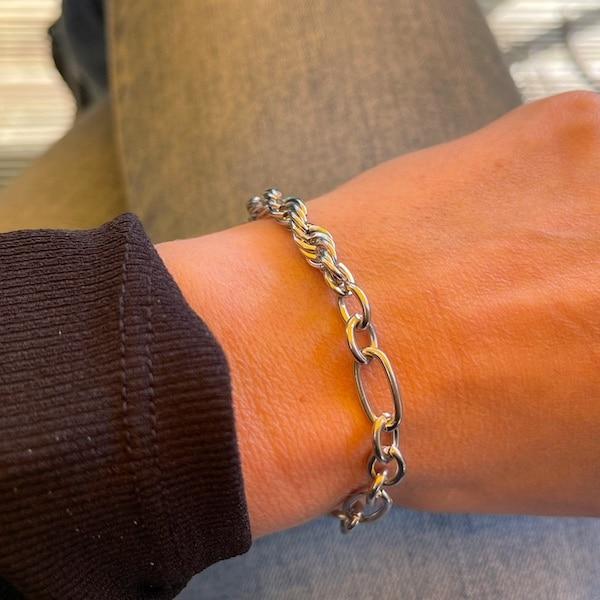 Made by Mila | Armband schakel grof zilver - Go Dutch Label 2