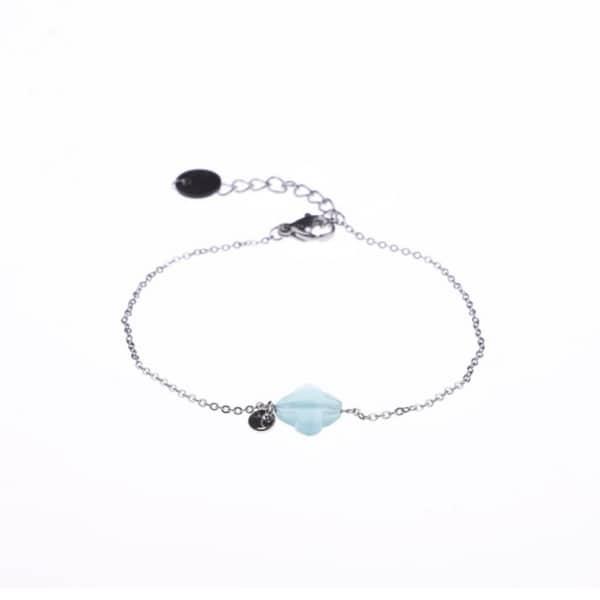 Made by Mila | Armbanden aqua klaver zilver - Go Dutch Label 1