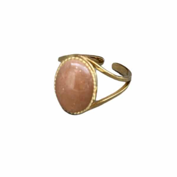 Made by Mila   Verstelbare ring goud met oud roze steen- ZAG Bijoux 1