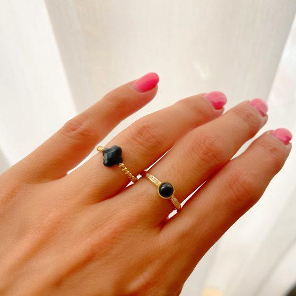 Made by Mila   Zirkonia ring zwart- ZAG Bijoux 2