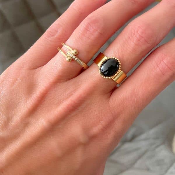Made by Mila | Verstelbare gouden apatite ring- ZAG Bijoux 2