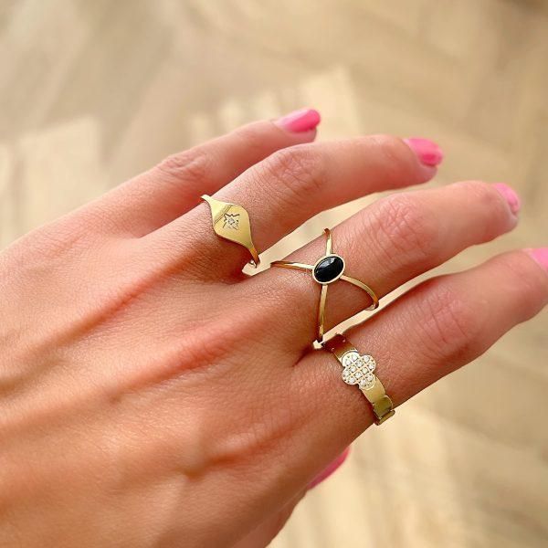 Made by Mila   Verstelbare ring klaver goud met steentjes- ZAG Bijoux 2