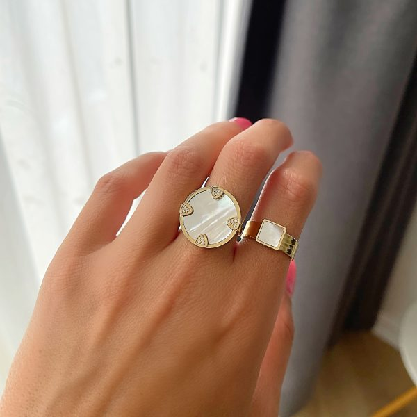 Made by Mila | Verstelbare ring goud met parelmoer- ZAG Bijoux 3