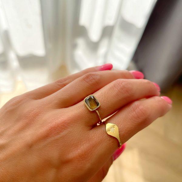 Made by Mila | Verstelbare ring goud met quartz fume steen- ZAG Bijoux 2
