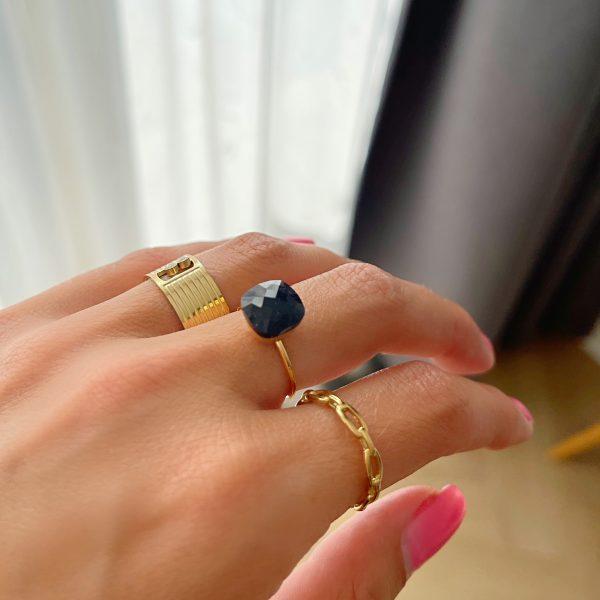 Made by Mila | Verstelbare ring paars steen- ZAG Bijoux 3
