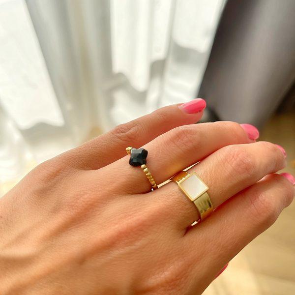 Made by Mila | Verstelbare ring goud met parelmoer- ZAG Bijoux 2