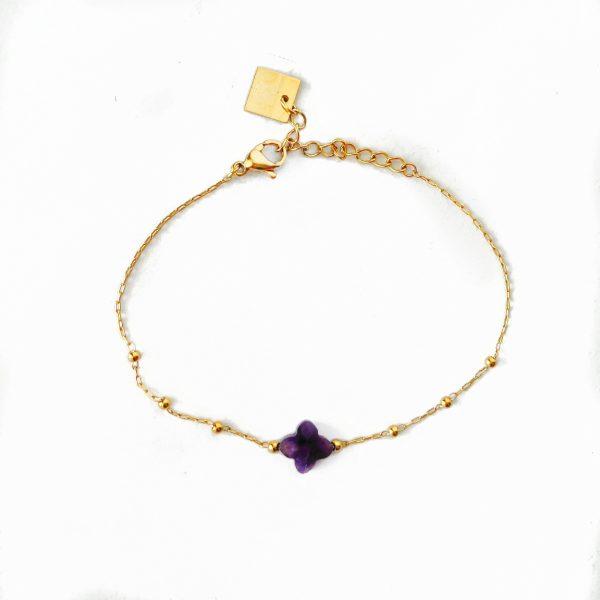 Made by Mila | Armband klaver paars - ZAG Bijoux 1