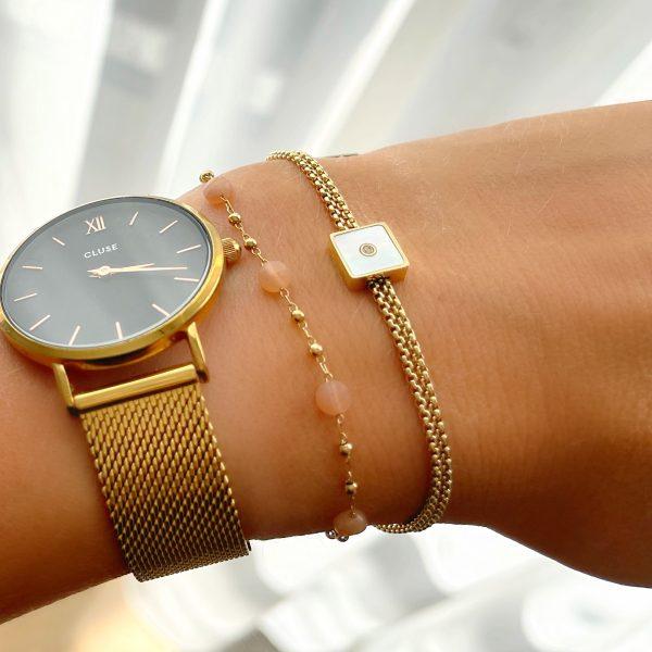 Made by Mila | Armband goud vierkant parelmoer- ZAG Bijoux 4