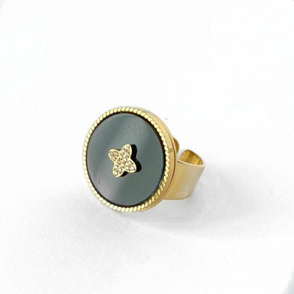 Made by Mila   Verstelbare gouden onyx ring- ZAG Bijoux 1