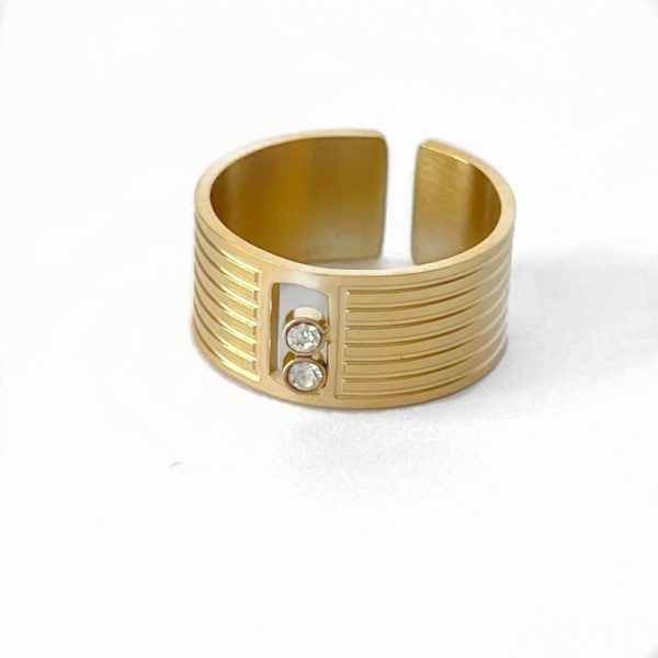 Made by Mila | Verstelbare brede ring zirkonia- ZAG Bijoux 1