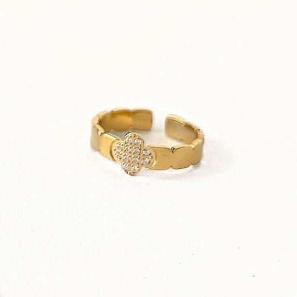 Made by Mila   Verstelbare ring klaver goud met steentjes- ZAG Bijoux 1