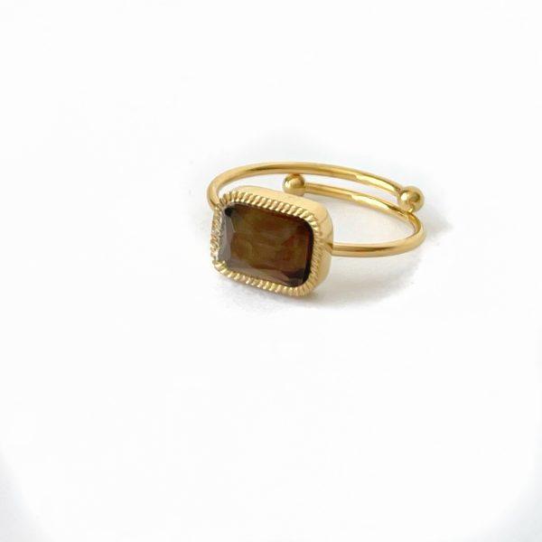 Made by Mila | Verstelbare ring goud met quartz fume steen- ZAG Bijoux 1