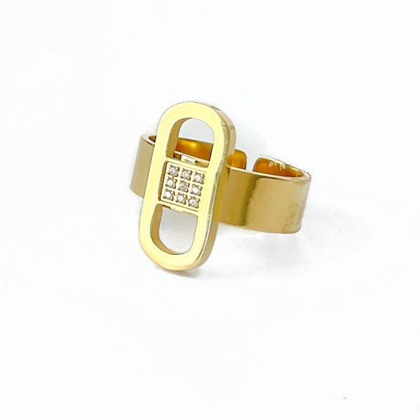 Made by Mila   Verstelbare ring ovaal goud met steentjes- ZAG Bijoux 1