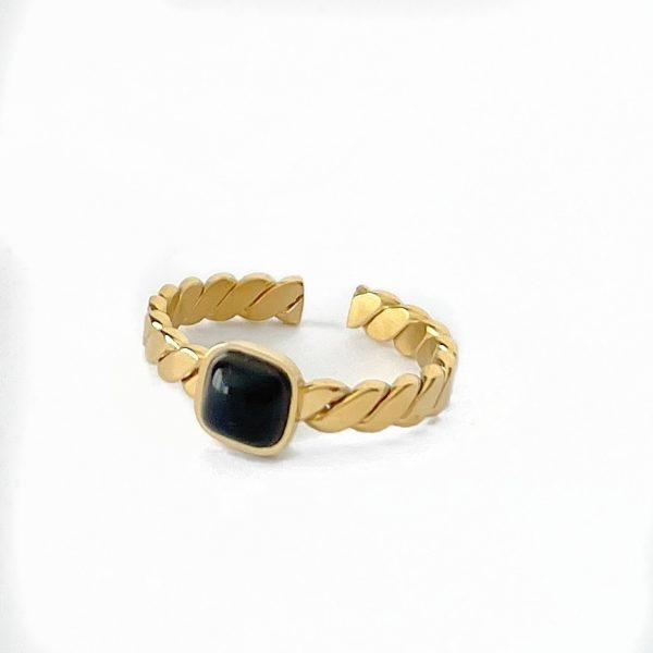 Made by Mila | Verstelbare leave gouden ring zwart- ZAG Bijoux 1