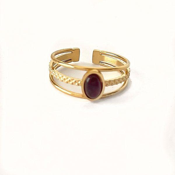 Made by Mila   Verstelbare ring goud met paarse steen- ZAG Bijoux 1